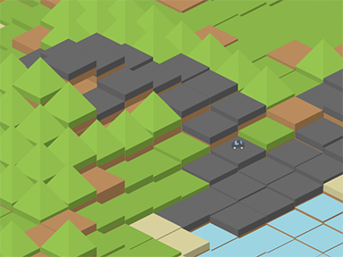 A procedurally generated world with rolling hills and a road cutting through it.